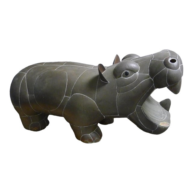 1970s Sergio Bustamante Patchwork Metal Hippo For Sale