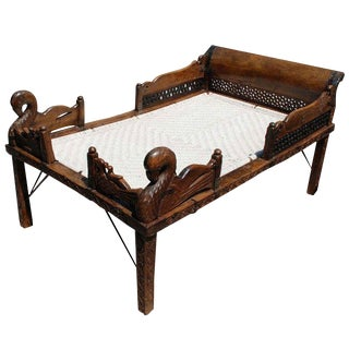 19th Century Indian Carved Teak Bed
