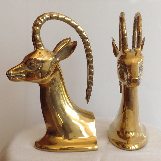 1960s Brass Ibex Bookends - Pair For Sale - Image 5 of 7