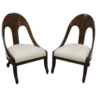 Pair of Michael Taylor for Baker Midcentury Spoonback Slipper Chairs For Sale