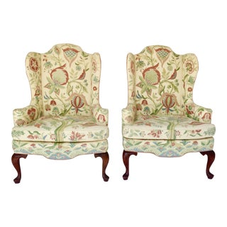 Crewel Work Upholstered Wing Chairs - a Pair