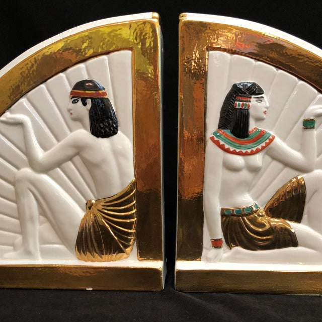 Green Vintage Art Deco Egyptian Revival Bookends For Sale - Image 8 of 10