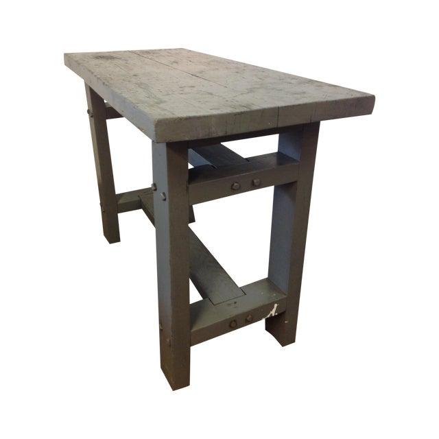Primitive Industrial Gray Potting Table - Image 1 of 10
