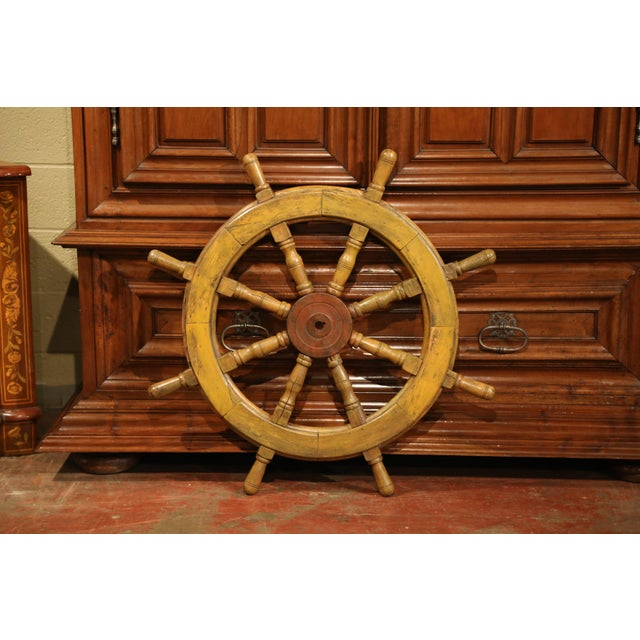 Metal 19th Century French Carved Walnut and Iron Sailboat Wheel With Old Yellow Paint For Sale - Image 7 of 7