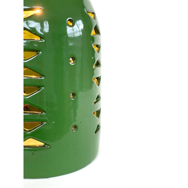 Contemporary Contemporary Green Glazed Ceramic Table Lamp For Sale - Image 3 of 5