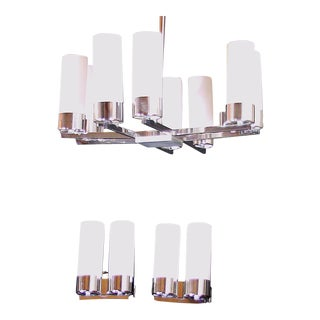 Jacques Adnet Mid-Century Chandelier and Sconces Set, France - 3 Pieces For Sale