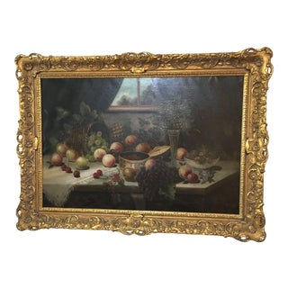 Early 20th Century Antique Still Life Oil on Canvas Painting For Sale