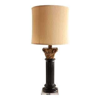 Carved Wood Corinthian Column Table Lamp For Sale