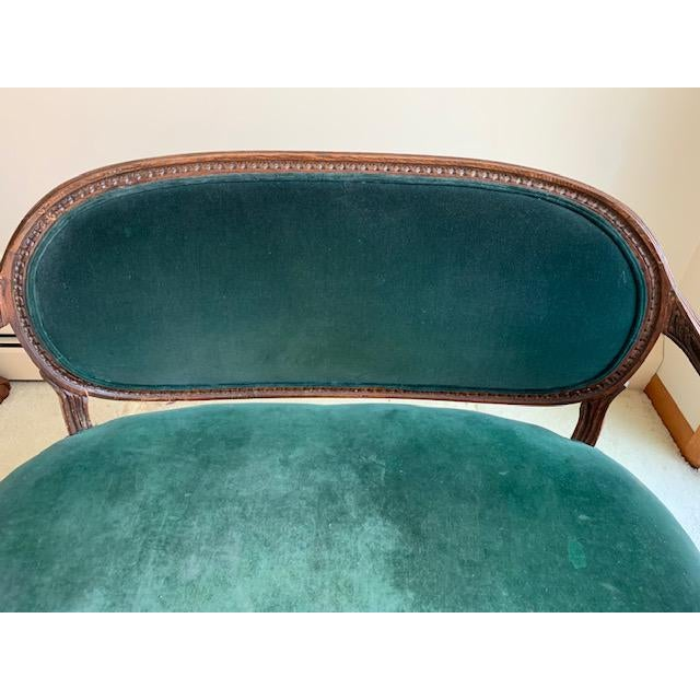 Antique French Green Velvet Love Seat For Sale - Image 4 of 9