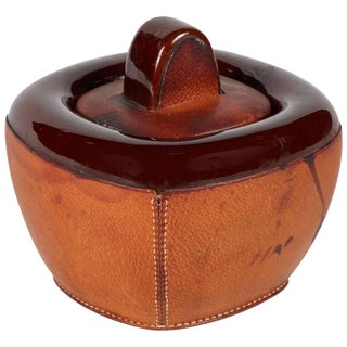 Small Pottery Jar With Brown Leather Decoration and Lid For Sale