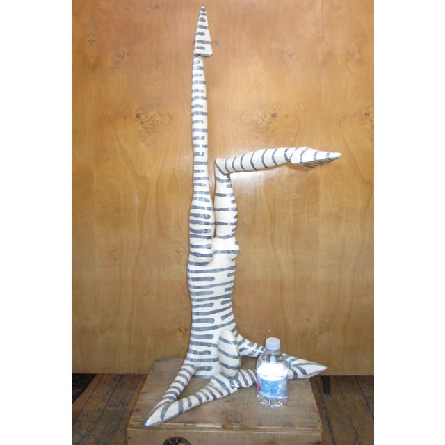 """Contemporary Original Studio Art Postmodern Ceramic """"Acrobat"""" Figural Blue Striped Biomorphic Form Sculpture by Jack Charney For Sale - Image 3 of 13"""