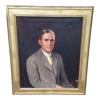 Vintage Oil Portrait Painting of Business Man For Sale