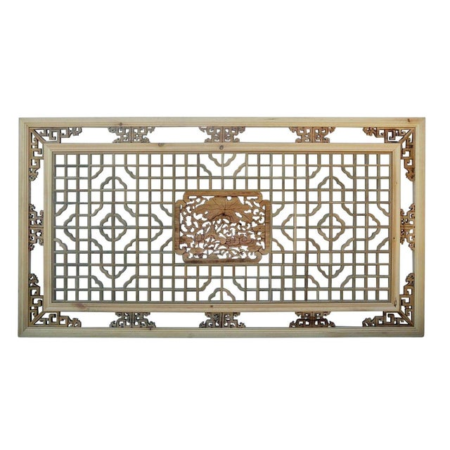 """Rectangular lotus ducks geometric wooden wall decor. Features natural wood imperfection and marks. Dimensions: 60"""" x 31.5..."""