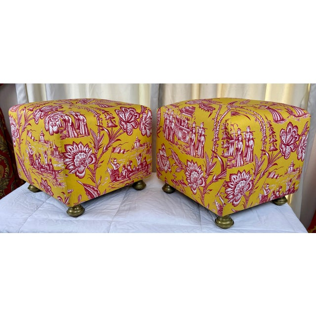 Late 20th Century Late 20th Century Vintage Chinoiserie Pouf Footstools with Brass Feat - a Pair For Sale - Image 5 of 10