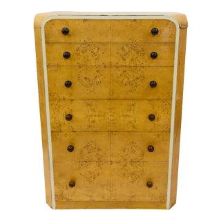 Antique Art Deco Burlwood Dresser For Sale