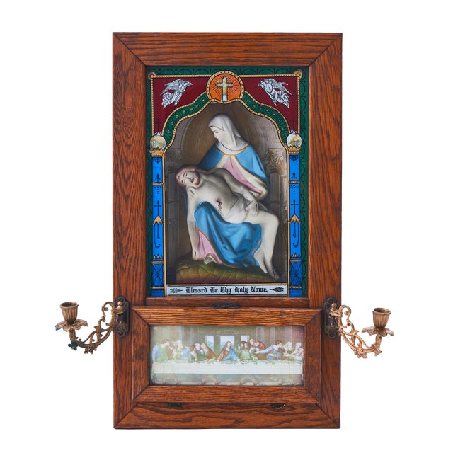 20th Century Last Rites Shadowbox Viaticum With Statue of La Pieta For Sale