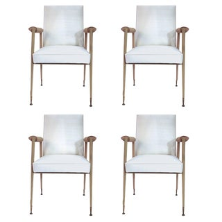 Set of Four Jules Et André Leleu Leather, Silk and Gifted Brass Chairs