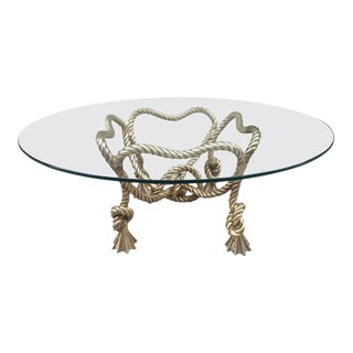 French Bronze Rope Coffee Table For Sale