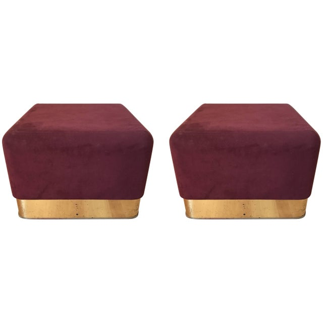 Red Pair of Milo Baughman Cube Footstools for Thayer Coggin For Sale - Image 8 of 8