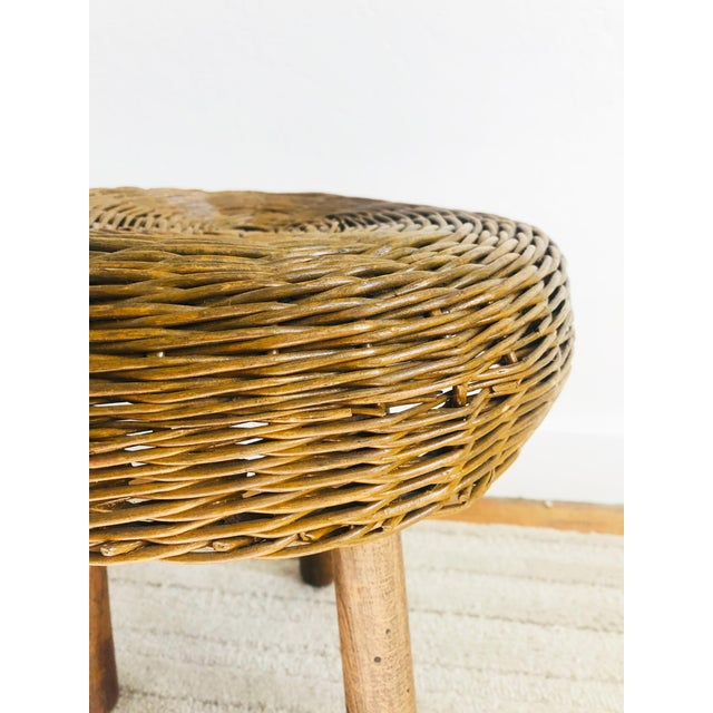 Brown Vintage Tony Paul Wicker Stool For Sale - Image 8 of 10