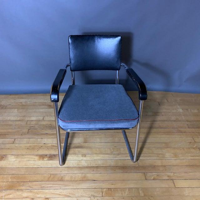 Black C1940 Tubular Chrome Cantilever Armchair, Velvet Seat For Sale - Image 8 of 9