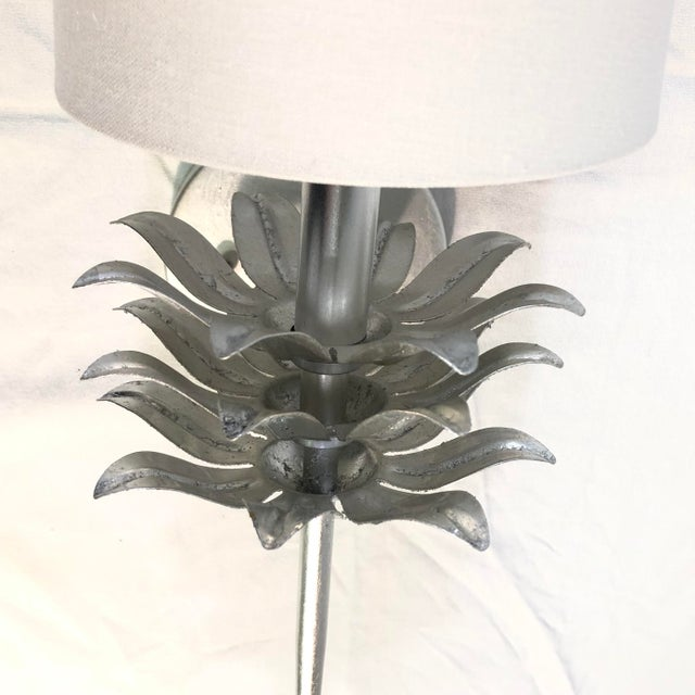 2010s Worlds Away Delilah Silver Leaf One Arm Wall Sconce For Sale - Image 5 of 11