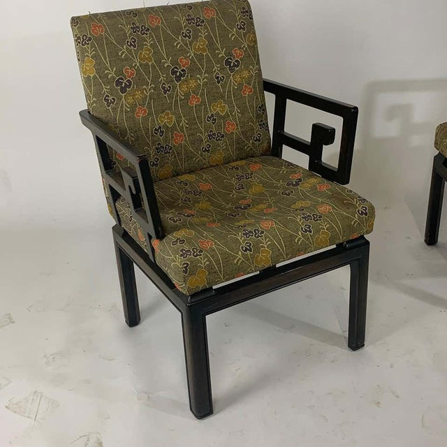 Wood Pair of Greek Key Far East for Baker Chinoiserie Armchairs by Michael Taylor For Sale - Image 7 of 13