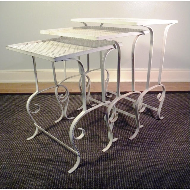 White Metal Nesting Tables - Set of 3 - Image 3 of 8
