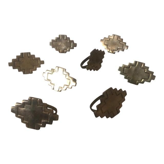 Vintage Brass Modernist Geometric Napkin Rings - Set of 8 - Image 1 of 7