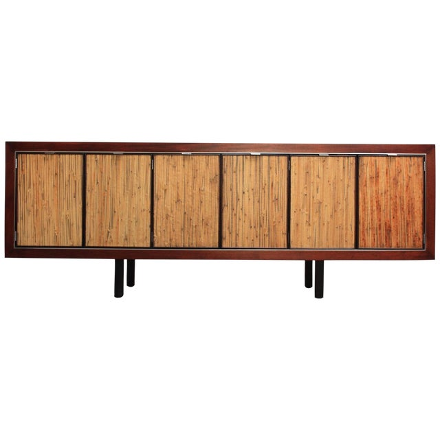1970s Walnut, Bamboo and Cherry Credenza after Harvey Probber - Image 1 of 10