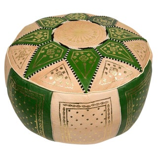 Green Traditional Moroccan Pouf For Sale