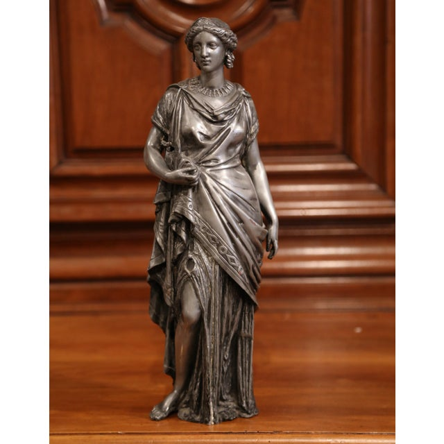 19th Century French Patinated Pewter Statue of Roman Woman For Sale - Image 4 of 9