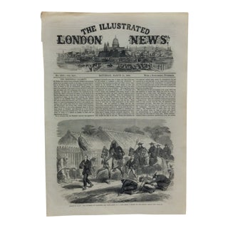 """1864 Antique Illustrated London News """"Scenes in Japan: The Governor of Kanagawa and Suite Going to a Fire"""" Print For Sale"""