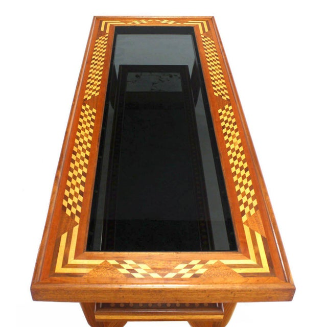 Early 20th Century Walnut Smoked Glass Top Marquetry Design Long Coffee Table For Sale - Image 5 of 9