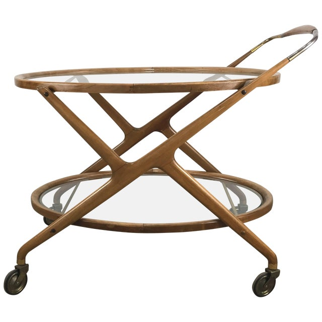 Cesare Lacca 1960s Bar Cart With Glass Shelves and Brass Details For Sale