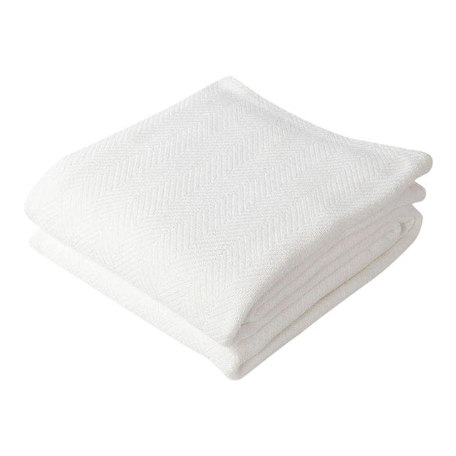 Contemporary King Bright White Herringbone Blanket For Sale