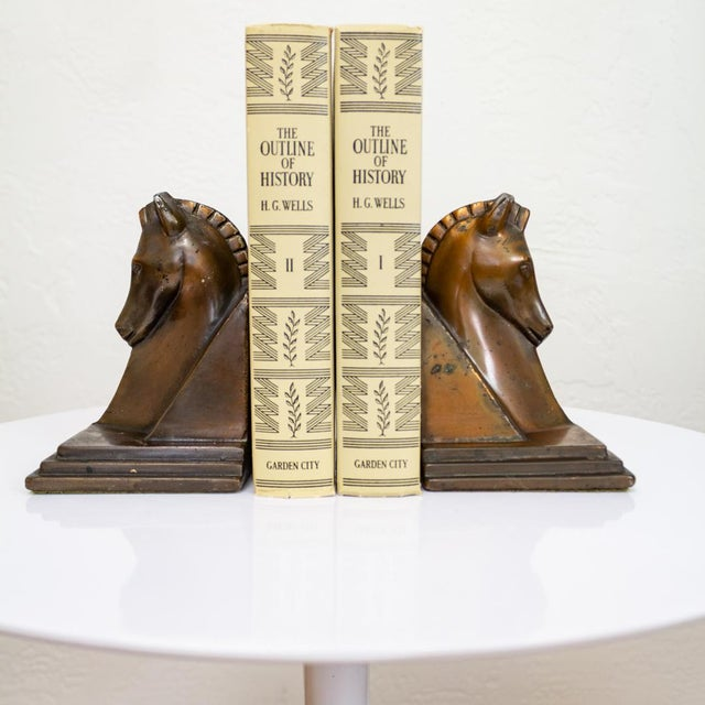 Early 20th Century Trojan Horse Bookends | Art Deco Copper Plated For Sale - Image 5 of 10