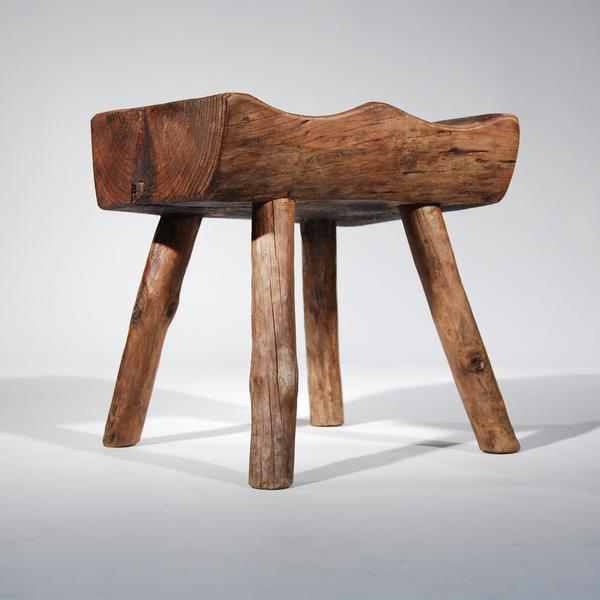 Contemporary Small Wooden Carved Stool For Sale - Image 3 of 11
