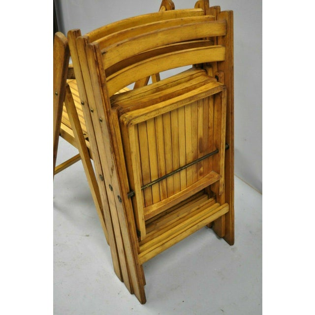 1950s Vintage Wood Slat Folding Dining Game Chairs- Set of 4 For Sale In Philadelphia - Image 6 of 11