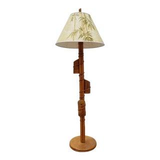 Vintage Tropical Decor Rattan Floor Lamp For Sale