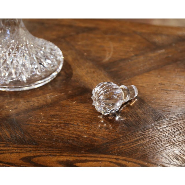 Midcentury French Cut Glass Wine Decanter With Stopper For Sale - Image 4 of 7