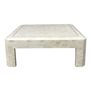 1950s Mid-Century Modern Karl Springer Fossil Stone and Brass Coffee Table For Sale