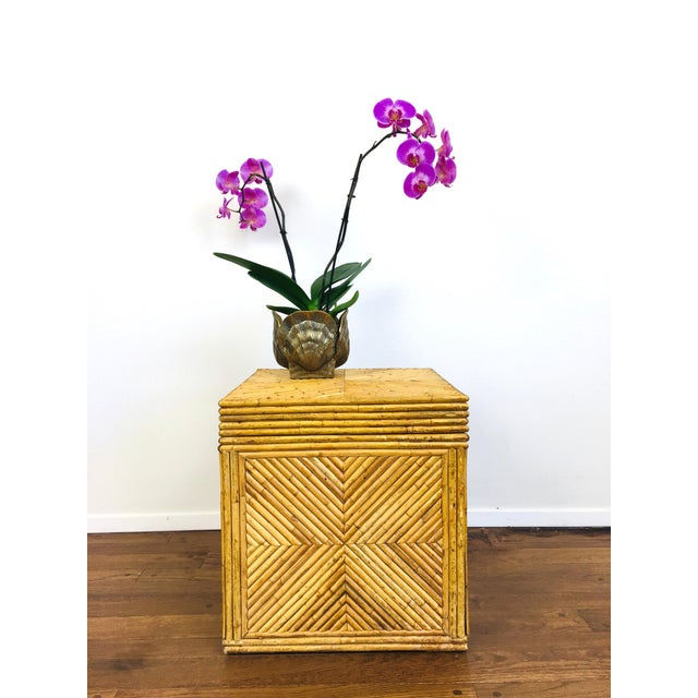 Boho Chic Vintage Natural Pencil Reed Rattan Gabriella Crespi Style Trunk Chest Table For Sale - Image 3 of 9