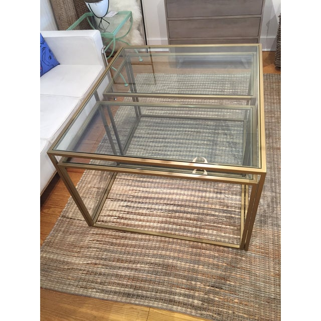 Nesting Metal Glass Top Cocktail Tables - Set of 3 - Image 3 of 4