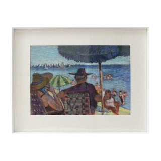Pastel Painting of the Beach in Westport Connecticut by Samuel Reindorf 1968 For Sale
