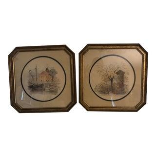 Norwegian Watercolors Is Original Giltwood Frames - A Pair For Sale