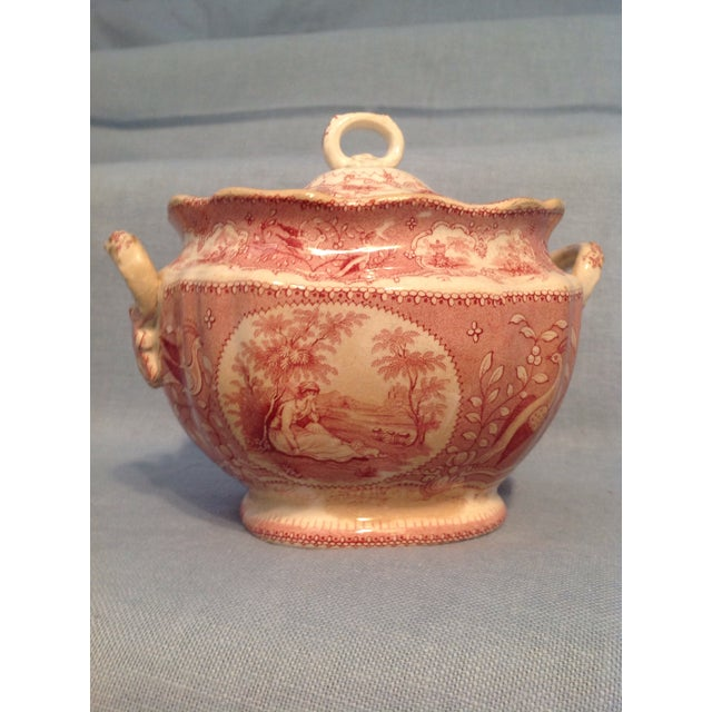 English Traditional English Traditional Red Transfer-Ware Two Handled Bowl With Lid For Sale - Image 3 of 13