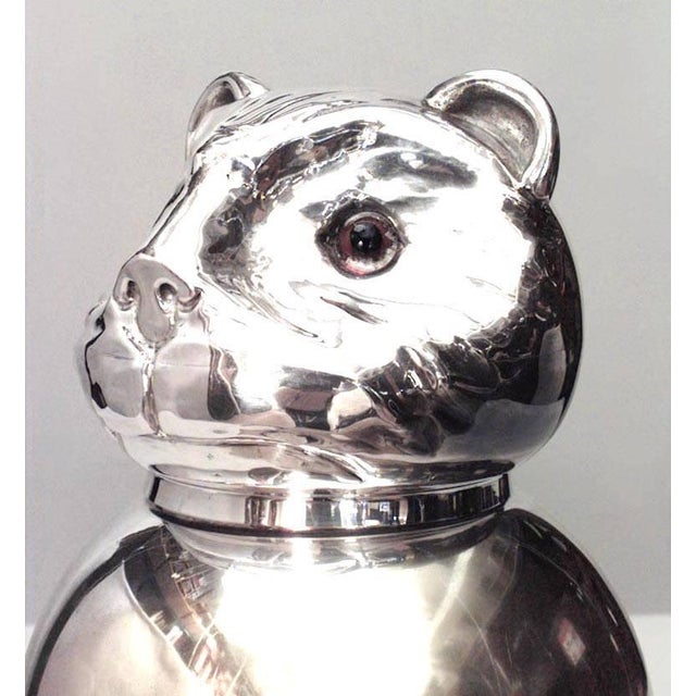 Italian 1940s style silver plated covered jar in the form of a cat with glass eyes.