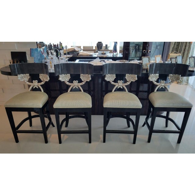 4 super high end silver leaf J Robert Scott Cornucopia Barstools sold as found in vintage condition previously owned and...