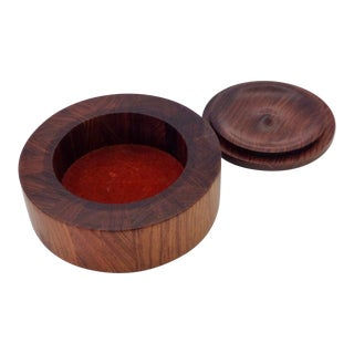 Studio Craft Turned Rosewood Box with Enamel Lid For Sale